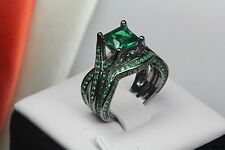 Womens Gothic Black & Green Sapphire Sterling Silver Engagement Wedding Ring Set