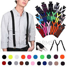 Men's Women's Plain Color Clip-on Suspenders Elastic Y-Shape Adjustable Braces