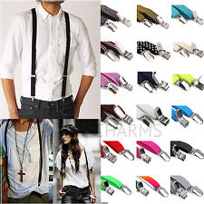 Unisex Y-Shape Skinny Thin Fashion Suspenders Adjustable Elastic Clip-on Braces