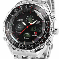 U.S.A SHARK New Mens Quartz Sport Army Wrist Watch Analog Stainless Steel