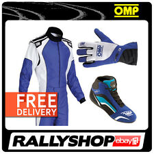 OMP KS-3 COMPLETE KART SET SUIT SHOES GLOVES BLUE M L XL Sport Karting Wear Kit