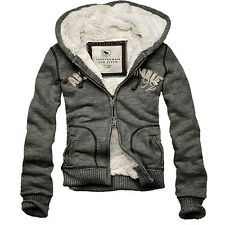 2014 Mens Abercrombie & Fitch Hollister Hoodie Grey Jacket Top Jumper S M L XL