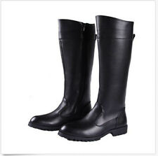 Cowboy Motocycle Riding Mens Synthetic Leather Knee High Boots Plus Size Black