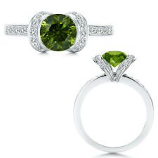 1 Carat Green Diamond Ribbon Engagement Solitare Promise 14K White Gold Ring