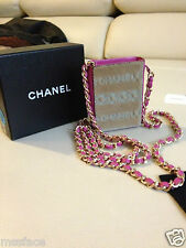 Authentic Chanel Hot Pink Leather Gold Chain Beige Hair Mini Pouch Rare