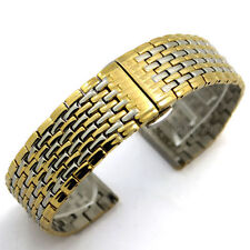 20 22mm Stainless Steel Silver with Gold Wrist Watch Band Replacement Band Gifts