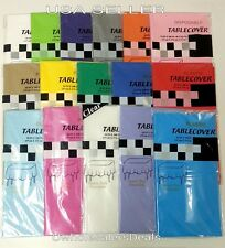 """Table Covers 54"""" x 108"""" Plastic Tablecloth Table Clothes - Pick Your Color - NEW"""