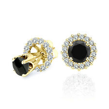 4 Carat Black Diamond Solitaire Stud Pair Earrings Halo Jackets 14K Yellow Gold