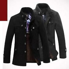 New Men Slim Fit Winter Trench Coat Wool Long Jacket Outerwear Overcoat Trench