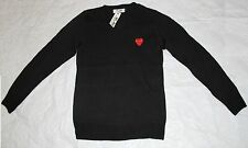 CDG PLAY Comme des Garcons BLACK SWEATER RED HEART US FREE SHIPPING