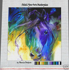 """""""ABSTRACT BLUE ROAN""""--Needlepoint Canvas Zweigart Mono Deluxe: 14 or 18 ct"""