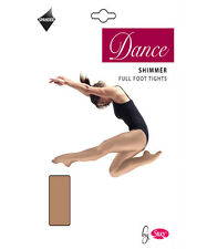 Ladies Womens Girls Childrens full foot shimmer dance tights light toast & toast
