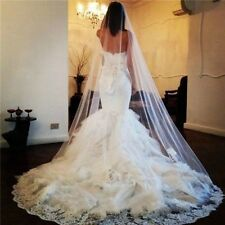 New White Ivory Cathedral Bridal Wedding Veil Lace Purfle Comb 300cm Hot Sale