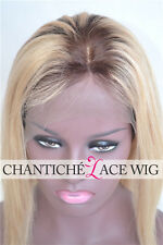 Custom Silk Top Ombre Wig Dark Roots Blonde Brazilian Human Hair Lace Front Wigs