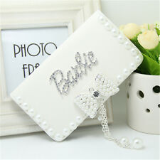 Fashion Diamond Barbie pearl bow PU leather flip wallet Case For Sony