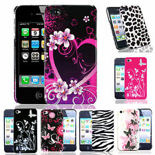 Patterned Case Cover For Iphone 4 + Screen Protector