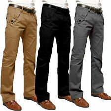Men Straight Leg Slim Fit Trousers Casual Long Chino BUSINESS FORMAL Pants Jean