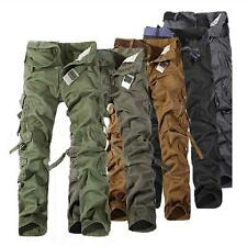 Mens Casual Military Army Cargo Camo Combat Work Trousers Pants Without Belt