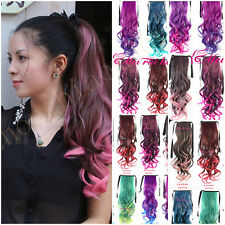 Women's Ponytail Hairpieces Hair Ribbon Clip in Curly Wave Ponytail Gradual Hair
