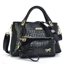 Women Croco Artificial Leather Handbag Shoulder Messenger Large Tote Bag Purse