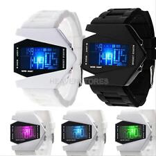 Black/White LED Digital Sports Wrist Watch Waterproof Bomber Aircraft Date Watch