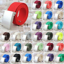 33 Colors Nice  Men Casual Black/Silvery Metal Buckle Canvas Waist Belt Gifts