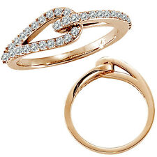 0.37 G-H Diamond Love Knot Women Wedding Anniversary Bridal Ring 14K Rose Gold