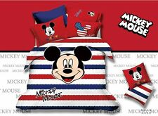 *** Stripy Mickey Mouse Queen Bed Quilt Cover Set - Flat or Fitted Sheet ***