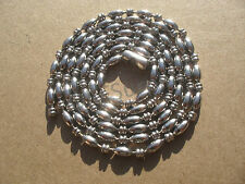 3mm Heavy Duty Stainless Steel Rice & 2 Smashed Ball Bead Dog Tag Chain Necklace
