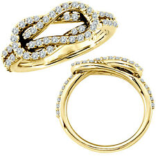 0.61 G-H Diamond Love Knot Promise Wedding Bridal Women Ring 14K Yellow Gold