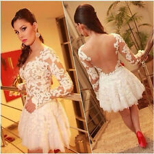 Sexy Women Lvory White Lace Floral Backless Solid Long Sleeve Dress High Quality