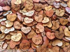 WOODEN LOVE HEARTS - CRAFT SCRAPBOOK CARD EMBELLISHMENTS DECORATION CHARMS