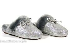 Michael Kors Carter Metallic Silver Glitter Quilted Fur Slip On Slippers Size 11