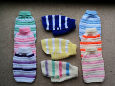 Hand Knitted New 8 Inch X Small Dog Coat/Jumper for Chihuahua, Yorkie, Small Cat