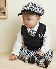 New Baby Toddler Boys Checkered Tie + Shirt + Vest + Pants + Hat 5 pcs/Set Suit