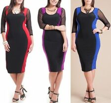 Plus Size Two-Tone Color Block Hourglass Mesh Sleeve Bodycon Pencil Midi Dress