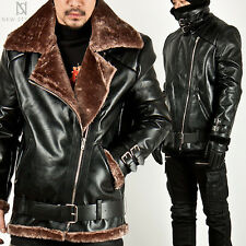 NewStylish Mens Fashion Casual Tops FUR LINING ZIPPER DOUBLE FACE LEATHER JACKET