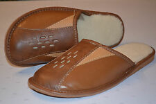 Mens Real Leather Slippers Shoes Sandals Tan Brown Made In Poland Wool Warm Soft