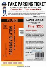 FAKE PARKING TICKET CUSTOMIZABLE What a Great Way To Play A Joke On Someone MAIL