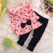 Children Baby Girl Heart-shaped Bow 2PCS Clothes Set Suit Top Sweater + Pants
