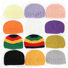 Handmade Cotton KUFI Crochet Beanie Skull Cap Knit Hat Baby Kids Adult 3 Sizes