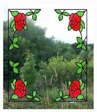 Set of 4 Corner Roses Stained Glass Effect Window Clings