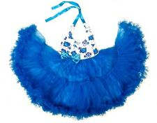 Toddler Girls Petti Tutu Skirt Dress Birthday Party Blue Floral 12M 2T 3T 4T 5 6