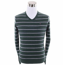 Tommy Hilfiger Men Classic Cashmere Cotton V-Neck Stripe Long Sleeve Sweater