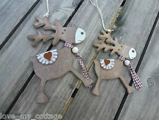 Shabby Chic Wooden Reindeer Heart Christmas Tree Decoration Two Sizes You Choose