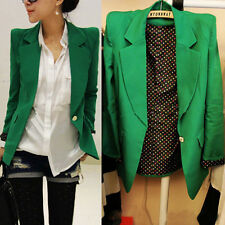 Korea Fashion Women Blazer Turn Down Collar Slim Single Button Jacket Suit Coats