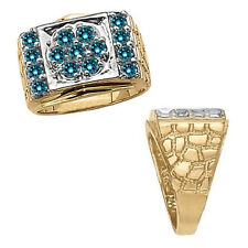 2 Carat Blue Diamond Design Cluster Mens Ring 14K White Yellow Two Tone Gold