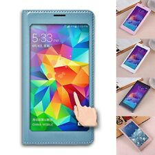 Ultra-thin Flip View Window PU Leather Case Cover For Samsung Galaxy Note 4