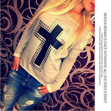 2 Colors Fashion Women's Cross Long Sleeve Top Blouse T- shirt Sweater S-3XL