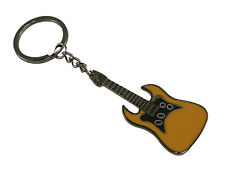 Custom Engraved Yellow & Chrome electric guitar keyring with gift pouch - GF5Y